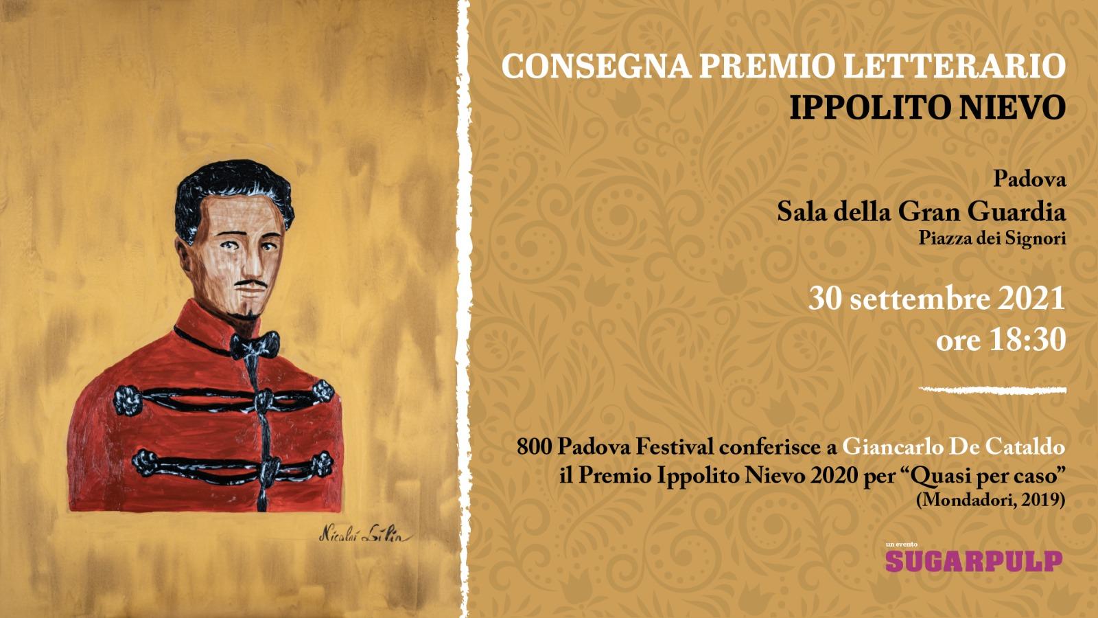 Consegna del Premio Ippolito Nievo a Giancarlo De Cataldo, appuntamento giovedì 30 settembre alle 18:30 presso la Sala della Gran Guardia di Padova.