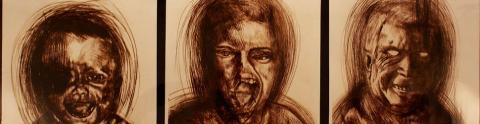 Der Mensh ist, was er isst., Alessandro Fogo, Installazione, pittura su tela